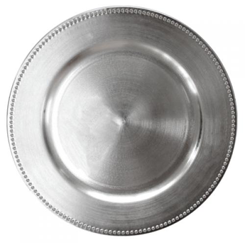 HORECANO-Подложна чиния с релефен кант 33 cm СРЕБЪРНА (T119)