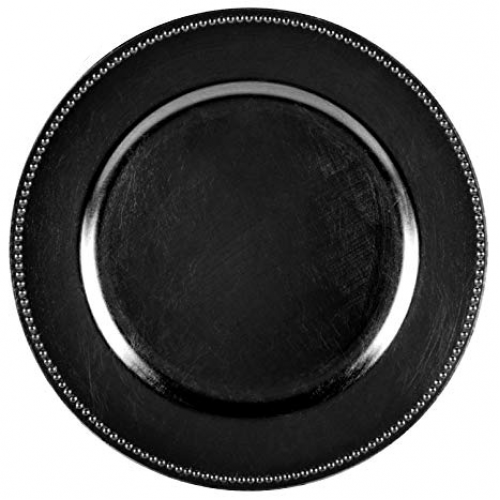 HORECANO-Подложна чиния с релефен кант 33 cm ЧЕРНА (T119)
