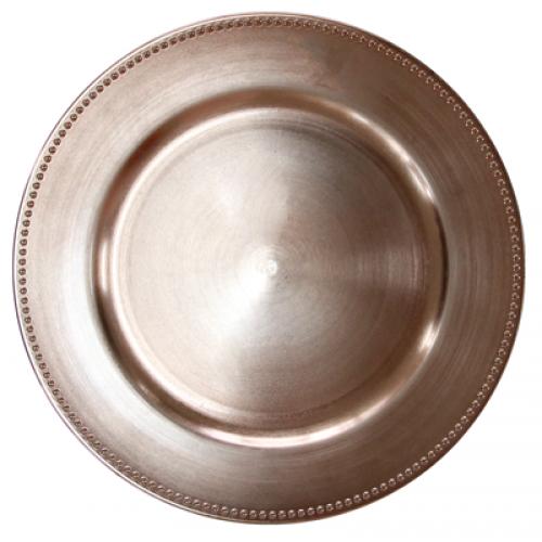HORECANO-Подложна чиния с релефен кант 33 cm РОЗОВО ЗЛАТО (T119)