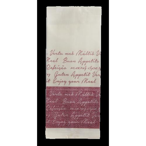 """LUNI PAPER-Хартиен джоб за прибори със салфетка и декор """"BON APPETIT"""" БОРДО 11x25cm (BB109BD) - 125бр"""